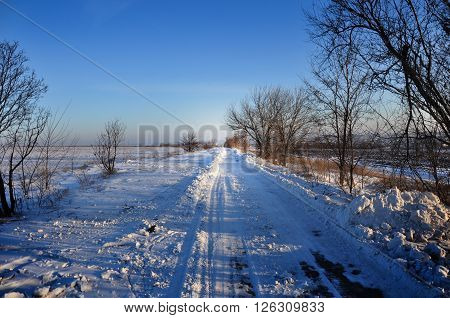 winter landscape: snow-covered road stretches into the distance and a cloudless sky