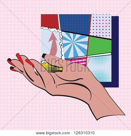 Hand on a pink and white dots background and set of types mini colorful backgrounds in a frame made in pop art style. Vector illustration design for comics, posters, flyers,  postcards, banners.