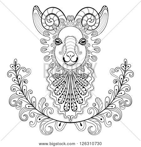 Ram with floral frame. wreathe. Vector zentangle Ram Head illustration,  Goat print for adult anti stress coloring page. Hand drawn artistically ornamental patterned decorative Sheep for tattoo design