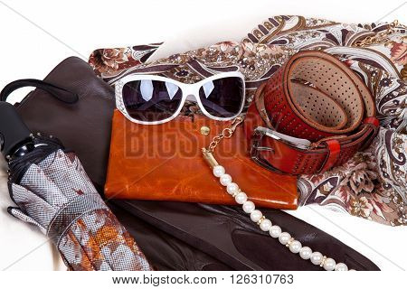 Set of brown autumn women's accessories handbags, sunglasses, belt, scarf and umbrella on a white background