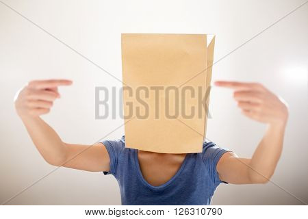 Woman cover with paper bag and finger point to each other