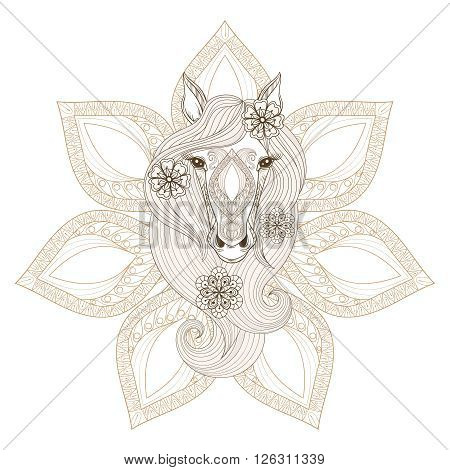 Vector Horse. Coloring page with Horse face on mandala background. Hand drawn patterned Horse with flowers in hairs, artistically decorative Horse for adult anti stress colouring books.