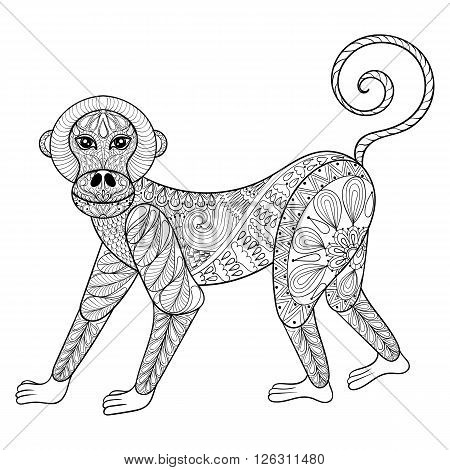 Vector Monkey. Zentangle Monkey illustration, Marmoset print for adult anti stress coloring page. Hand drawn artistically ornamental patterned decorative animal for tattoo, boho design, tribal mascot.