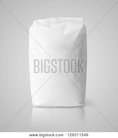 White Blank Paper Bag Package Of Flour On Gray