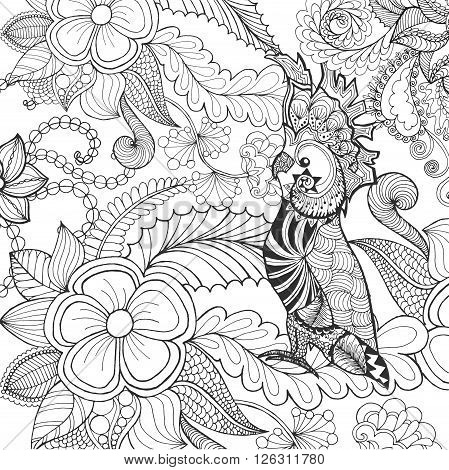 Cute cockatoo coloring page. Animals. Hand drawn doodle. Ethnic patterned illustration. African, indian, totem tatoo design. Sketch for avatar, tattoo, poster, print or t-shirt.