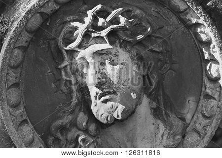 detail of sculpture of Jesus Christ (close up)