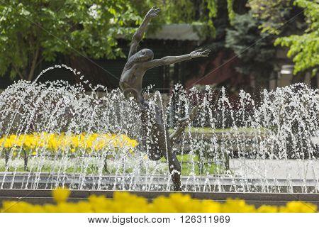 Fountain near Bulgaria's national theatr in Sofia