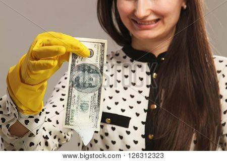 woman launder shady money (illegal cash dollars bill corruption manipulation)