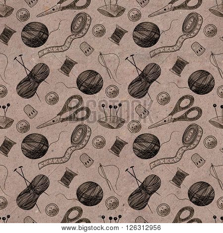 Seamless pattern with sewing things on kraft paper. Thimble, needle, thread, bobbin, scissors
