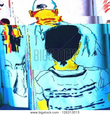 Background with a sketch of people in style glitch-art. Vector illustration.