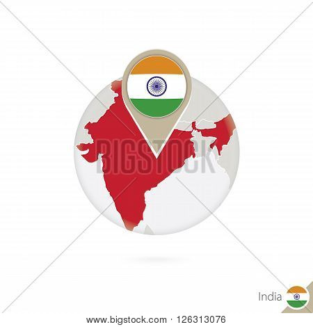 India Map And Flag In Circle. Map Of India, India Flag Pin. Map Of India In The Style Of The Globe.