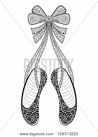 Vector zentangle ballet dance shoes symbol, patterned illustration. Hand drawn ornamental pointe shoes with ribbon bow, print for adult anti stress coloring page