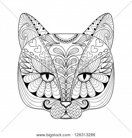 Vector zentangle cat print for adult coloring page. Hand drawn artistically ethnic ornamental patterned illustration. Animal collection.