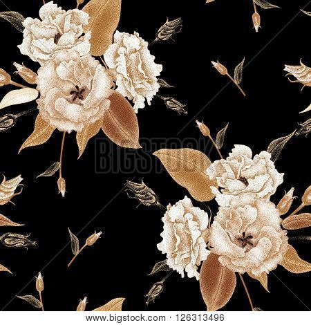 Flowers roses on a black background. Vector seamless pattern. Floral design in oriental style. Vintage. Black white and gold. Beautiful bouquets flowers roses gold foil printing.