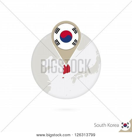 South Korea Map And Flag In Circle. Map Of South Korea, South Korea Flag Pin. Map Of South Korea In