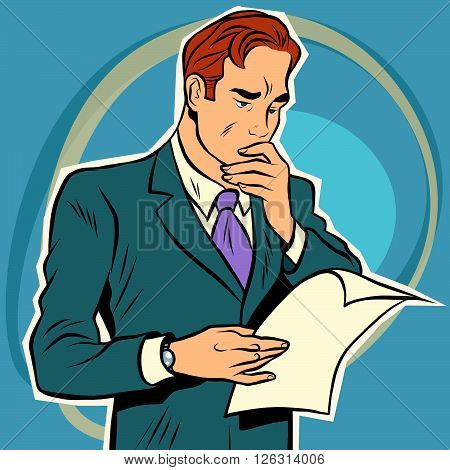 man reading document. Businessman reading a letter. Manual
