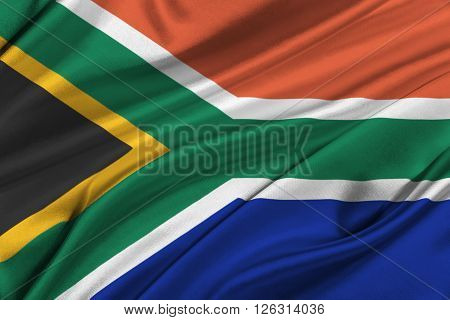 Flag of South Africa waving in the wind.