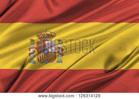 Flag of Spain waving in the wind.