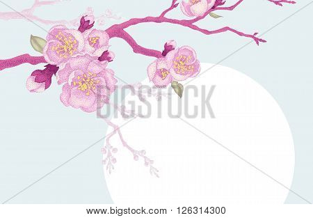 Vector card with pink flowers cherry branch leaves and place for text for wedding invitations congratulations. Vintage style. Oriental design. Oriental cherry tree as a symbol.
