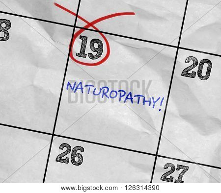 Concept image of a Calendar with the text: Naturopathy