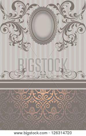 Decorative background with elegant patterns and vintage frame.