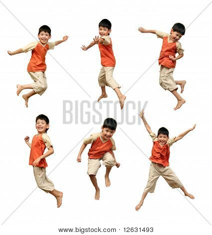 Boy Jumps On White Background