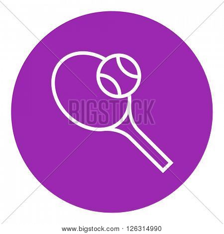 Tennis racket and ball line icon.