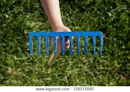 Hand holding a rake over green grass background