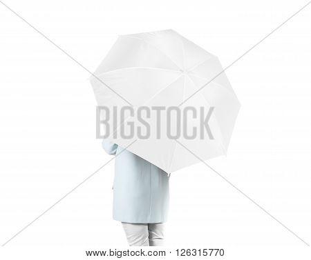 Women stand backwards with white blank umbrella opened mock up isolated.
