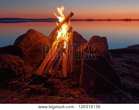 Campfire On The Beach At Night