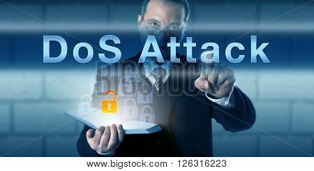 Legitimate corporate user pressing DoS Attack on a virtual touch screen interface. Business risk metaphor and information technology concept for a cyber attack preventing users to access services.