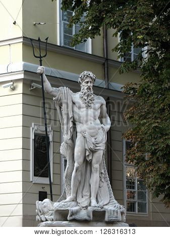 Neptune monument in the city of Lviv city center