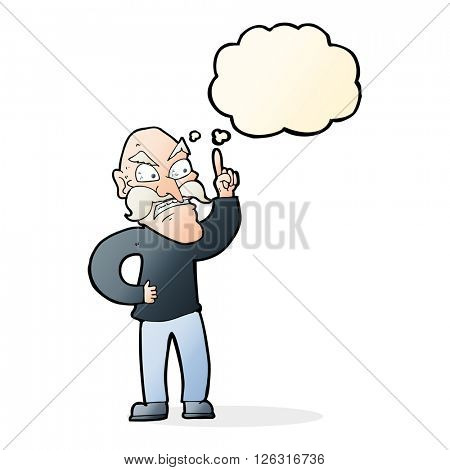 cartoon old man laying down rules with thought bubble
