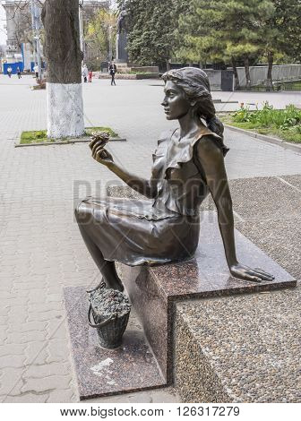 ROSTOV-ON-DON RUSSIA- APRIL 11- The flower girl. Sculptor D. Lundin on April 11; 2016 in Rostov-on-Don