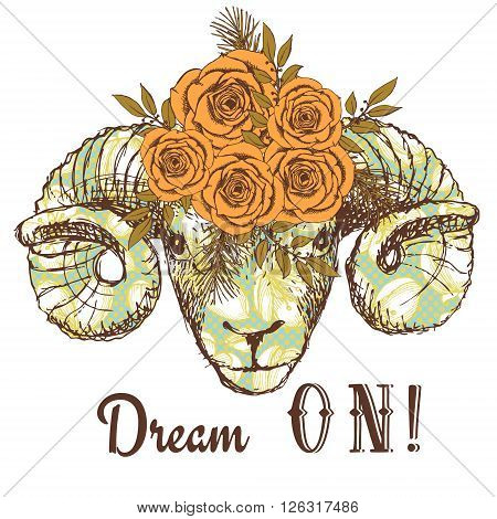 Dream on poster with ram and floral pattern in vintage style vector