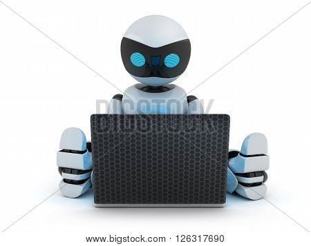 Robot working on laptop (done in 3d)