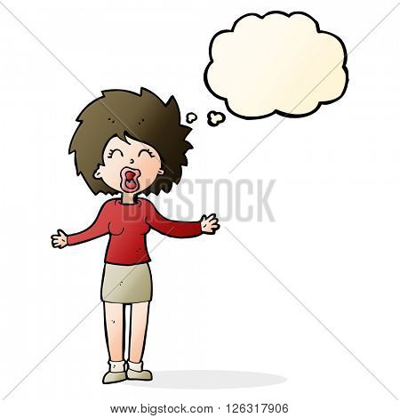 cartoon loud woman with thought bubble