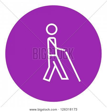Blind man with stick line icon.