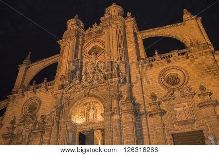 Jerez de la Frontera Cathedral at night