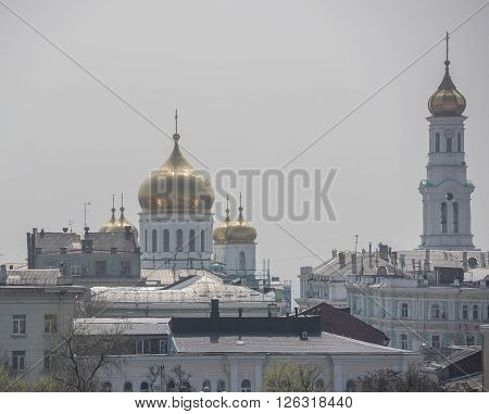 View of the city of Rostov-on-Don with a bird's-eye view