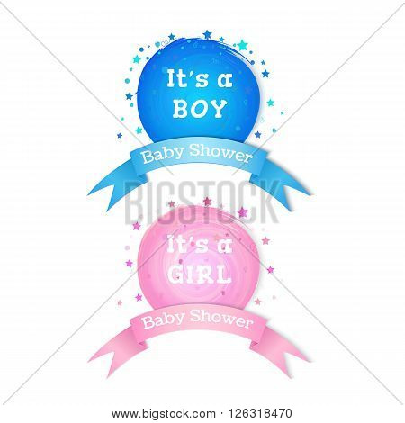 Baby shower invitation stickers. Boy and girl birth emblems. Vector illustration