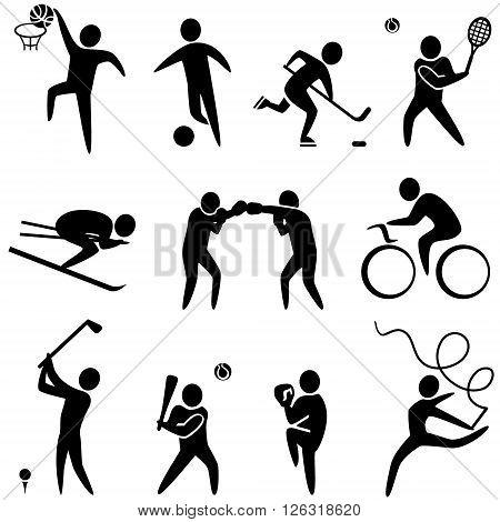 Set of sports icons: basketball soccer hockey tennis skiing boxing wrestling cycling golf baseball gymnastics. Vector illustration