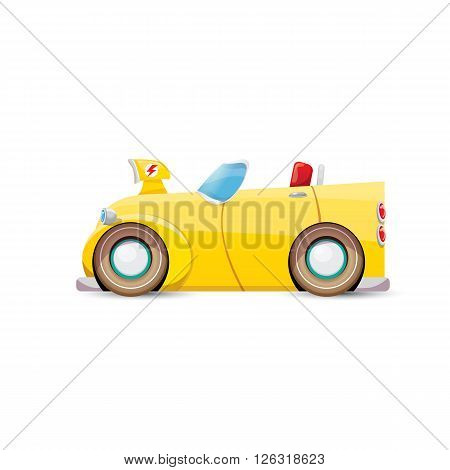 funny vector cartoon orange sport car isolated on white