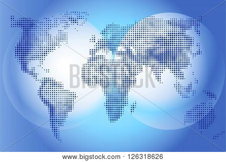 World map Illustration on blue background geography. Continents and world ocean. Globe world vector detailed maps. Vector graphics for design projects and presentations informative scoreboard.