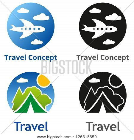 Set of company name concepts. Set of travel business concept. Symbols and emblems for travel agency airlines tourism adventure and expedition.