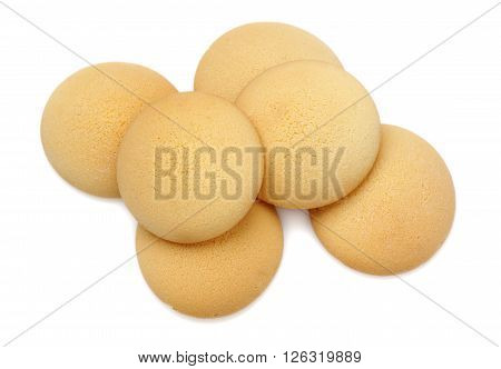 Sponge cakes from above over white background