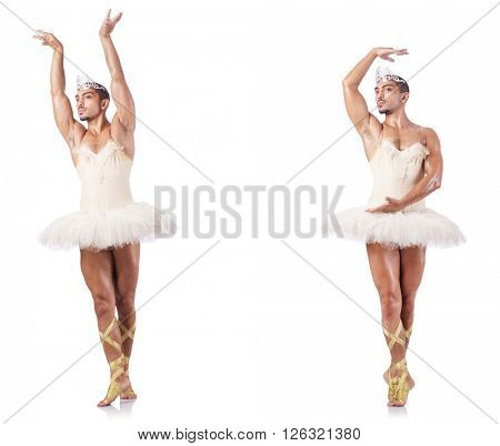 Man in ballet tutu isolated on white