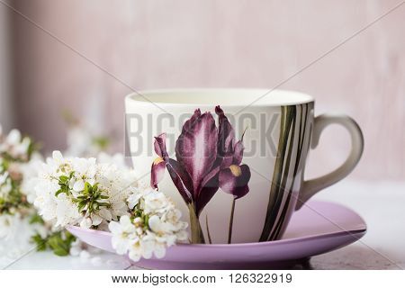 Hot Drink Cup Beside Window Whith Spring Flower