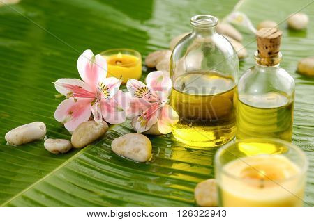 Spa set on banana leaf with orchid, oil, candle