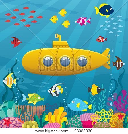 Vector illustration of cartoon yellow submarine underwater.